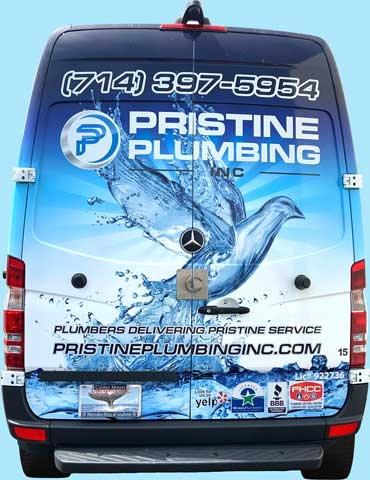 Back of Pristine Plumbing van in Irvine